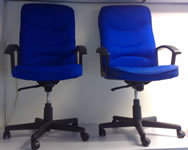High back blue chair with arms