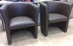 Ex hire brown leather tub chairs